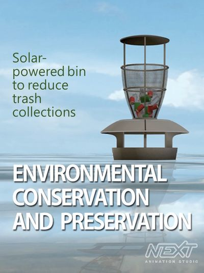 Solar-powered bin to reduce trash collections